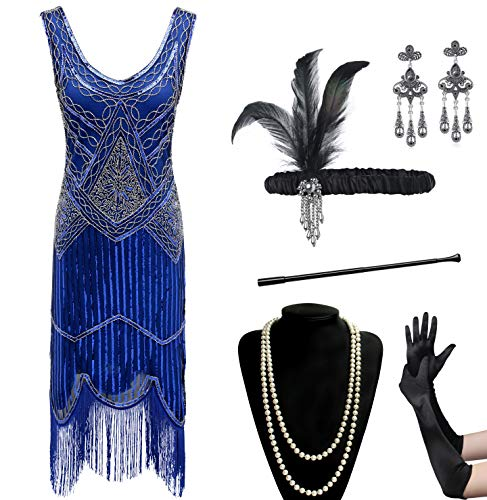 Coucoland Womens 1920s Flapper Sequin Beads Dress with Roaring 20s Gatsby Accessories Set for Party (Blue, L)