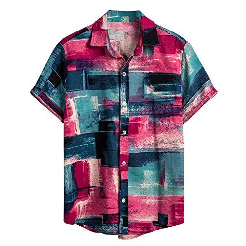 - AOJIAN Mens Ethnic Short Sleeve Hawaiian Shirt Casual Cotton Linen Printing Personalized Blouse(Pink,S)
