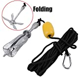 Blackpoolfa OUTAD Superior Folding Grapnel Anchor System with Rope, Marker Buoy for Small Boats, Sailboats, Canoes | 4 Pound Kayak Galvanized Iron Anchor Kit