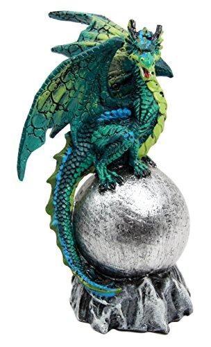 Aquamarine Sea Dragon Lord Guardian of Volcanic Orb Figurine Myth & Legends Collectible Statue Decor ()