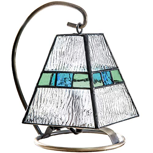 - J Devlin Lam 703 Mini Lamp Blue Green Accent Night Light Tiffany Stained Glass Lamp