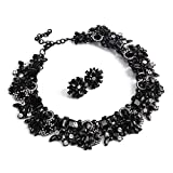 Holylove Black Statement Necklace Earrings for Women Novelty Jewelry Set Formal Party Wedding with Gift Box-8041BBlack