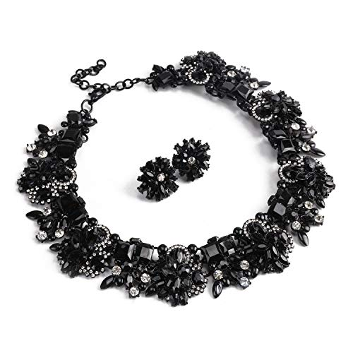 Holylove Black Statement Necklace Earrings for Women Novelty Jewelry Set Formal Party Wedding with Gift Box-8041BBlack Black Rhinestone Jewelry Set