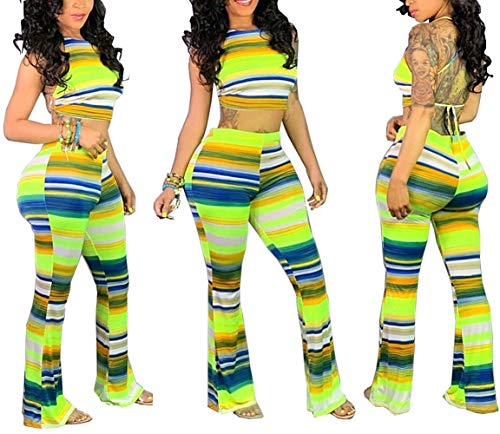 - Womens Two Piece Sets Crop Top - Sexy Backless Sleeveless Wide Leg Pants Striped Clubwear Green
