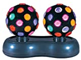 Global Gizmos 4.5-inch Twin Roatating Disco Ball Light, Multi-Coloured by Global Gizmos