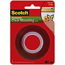 """Scotch Permanent Clear Mounting Tape, holds up to 2 pounds, 1"""" x 60"""", 1 Roll"""