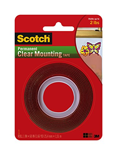 Double Sided Glass (Scotch Permanent Clear Mounting Tape, holds up to 2 pounds, 1