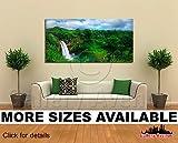 Wall Art Canvas Picture Print - Tropical Island and Waterfall, Kauai Hawaii 2.1
