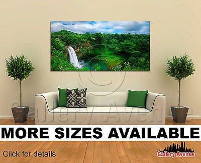 Hawaii Waterfall (Wall Art Canvas Picture Print - Tropical Island and Waterfall, Kauai Hawaii 2.1)