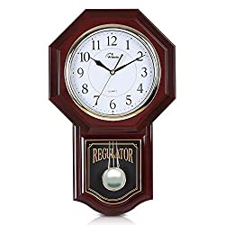 WallarGe Music Wall Clock with Pendulum, Battery Operated Schoolhouse Clocks,Chime Every Hour,12 Melodies, Regulator Clocks for Home, Study, Office or School Decoration.