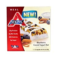 Atkins Advantage Bar, Blueberry Greek Yogurt, 5 Bars 1.7 Ounce