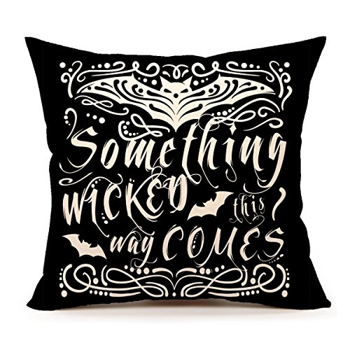 Halloween Throw Pillow (4TH Emotion Something Wicked Chalkboard Halloween Throw Pillow Cover Pillow Case 18 x 18 Inch Cotton Linen for Sofa(Bat))