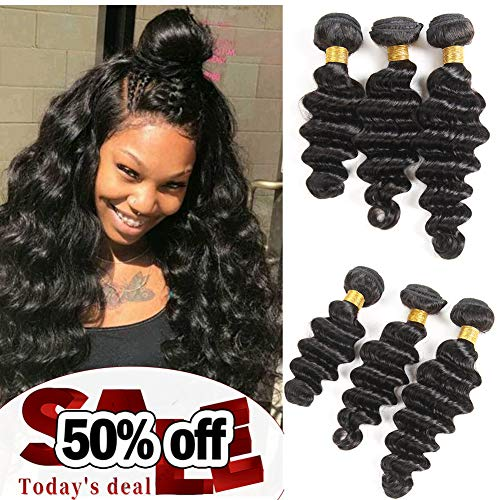 10A Brazilian Virgin Human Hair Loose Deep Wave 3 Bundles(16