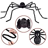 Halloween Decorations 3.1FT Scary Hairy Halloween Spider(Black)with Touch Control LED Red Flashing Eyes and Scary Sounds,Halloween Party Décor,Outdoor & Indoor