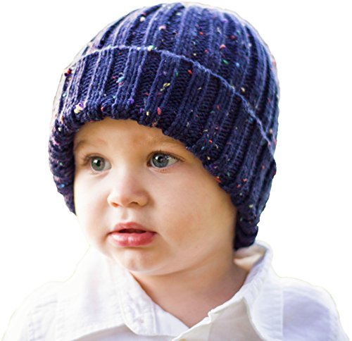 Huggalugs Baby and Toddler Childrens Navy Tweed Fisherman Beanie Hat L