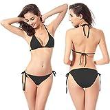 Keepfit Multicolor Bandage Swimwear, Women String Bikini Push-up Bra Swimsuit (Black)