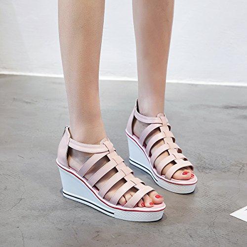 Padgene Donna Sneaker Scarpe Col Tacco Alto Moda Tela Alta Pompa Stringate Zeppe Scarpe Cerniera Laterali Rosa 4
