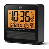 "hito 3.7"" Digital Battery Atomic Bedside Travel Alarm Clock Solar Panel Date Day Indoor Temperature Humidity Backlight Repeating Snooze 4 Timezones (Black w/Solar Panel)"