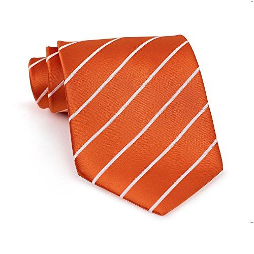 Bows-N-Ties Men's Necktie Pencil Striped Microfiber Satin Tie 3.25 Inches (Mandarin Orange and (Mandarin Stripe Tie)
