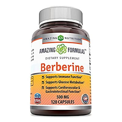 Amazing Nutrition Berberine Plus 500 mg 120 Capsules - Supports immune system - Supports glucose metabolism - Aid in healthy weight management