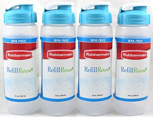 Rubbermaid Refill, Reuse 20-ounce Chug Bottle, Pack of 4 Clear Bottles