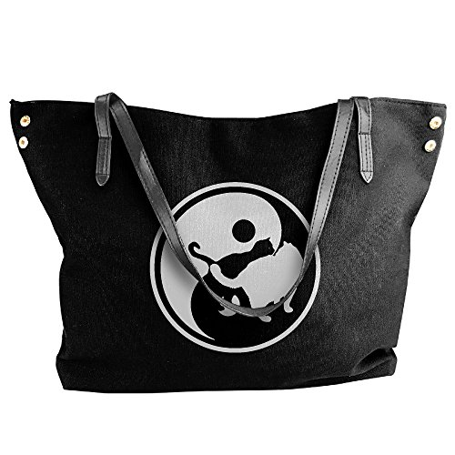Women's Bags Yin Large Messenger Cat Canvas Handbag Yang Shoulder Black Tote zPqzWFrp