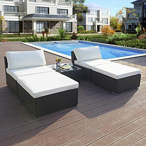 - Tangkula 5 PCS Patio Wicker Lounge Furniture Set Outdoor Garden Rattan Wicker Chairs Coffee Table Conversation Set W/Cushions