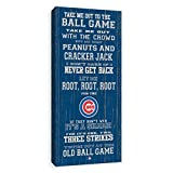 Chicago Cubs Take Me Out Painted Wood Rustic Style Printed Canvas 12W x 26H x 1.25D