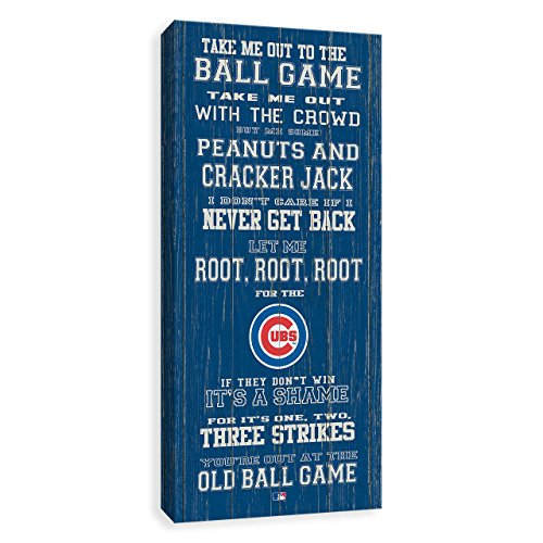 Chicago Cubs Take Me Out To The Ball Game   Painted Wood Rustic Style Printed Canvas 12W X 26H X 1 25D Perfect Gift For Any Baseball Lover