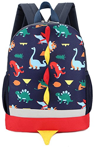 Kid Backpack Boy Preschool with Strap Dinosaur Blue Kindergarten Leash Bookbag by Lakeausy