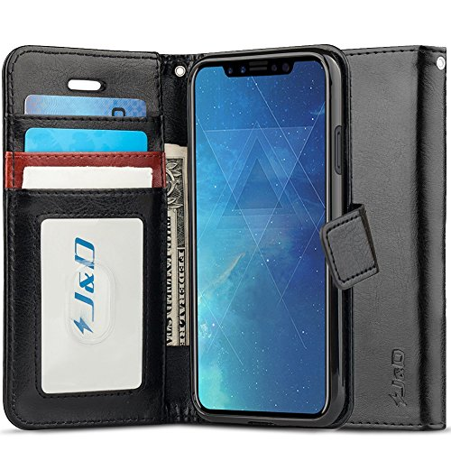 J&D Case Compatible for iPhone Xs/iPhone X Case, [RFID Blocking Wallet] [Slim Fit] Heavy Duty Shock Resistant Flip Cover Wallet Case for Apple iPhone X / 10, Apple iPhone Xs Wallet Case - Black