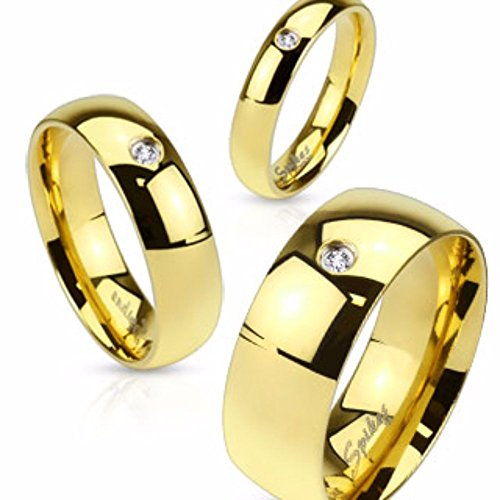Wedding Band Gold IP Stainless Steel with CZ