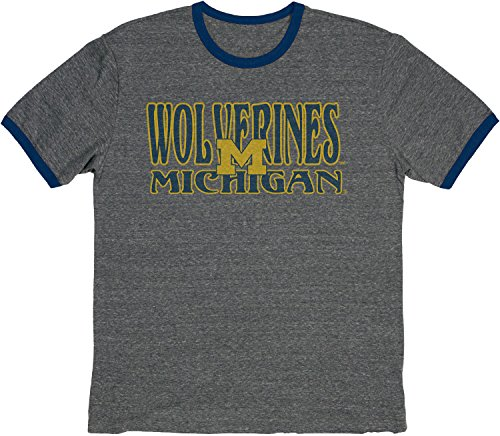Blue 84 NCAA Michigan Wolverines Vintage Tri-Blend Ringer Tee, Large, Navy