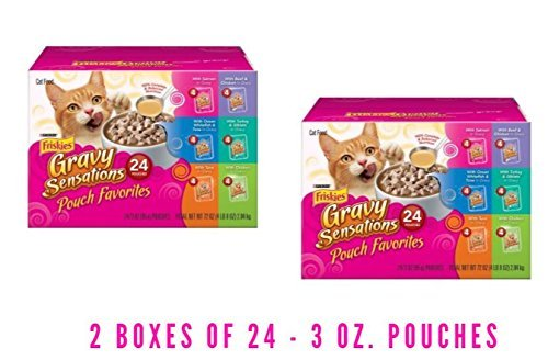 Purina Friskies Gravy Sensations Pouch Favorites Cat Food Variety Pack 24-3 oz. Pouches (2 Boxes of 24 - 3 oz. Pouches) by Purina Friskies