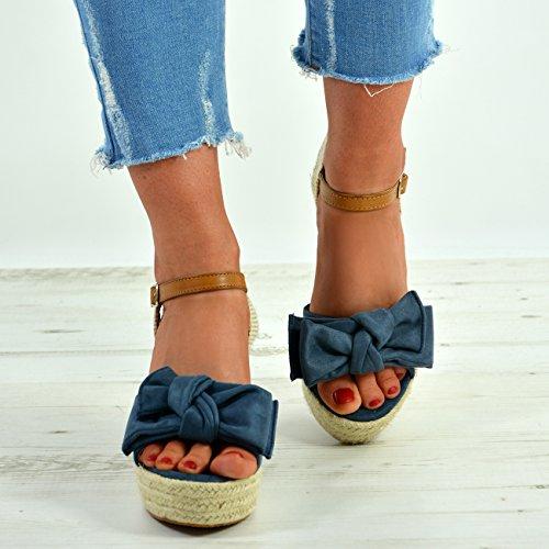 Strap Shoes Platform Ladies New Sandals Heel Womens Ankle Cucu Bow Wedges High Blue Fashion nwTHWzq7