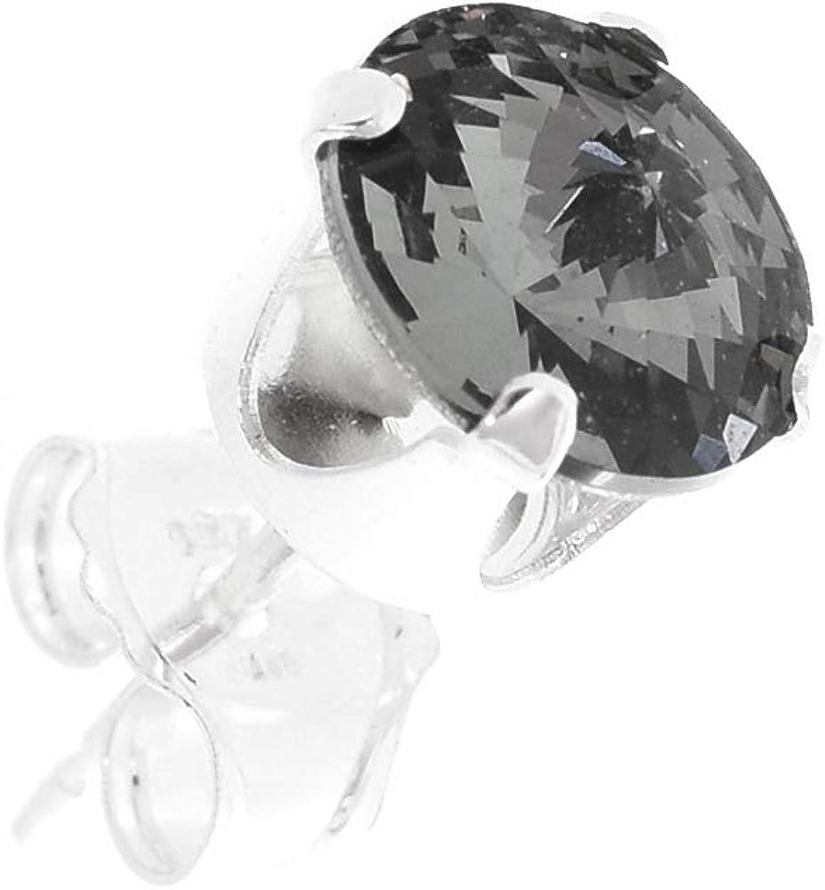 pewterhooter - Pendientes de plata de ley 925 para hombre con cristales brillantes de diamantes negros de Swarovski. Caja de regalo, hipoalergénicos y sin níquel para orejas sensibles.