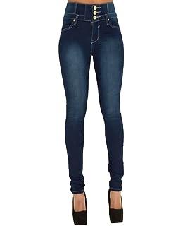 61a3c72148 Dooxi Femmes Élégant Slim Taille Haute Jeans Décontractée Skinny Stretch  Crayon Denim Pantalons Jeggings