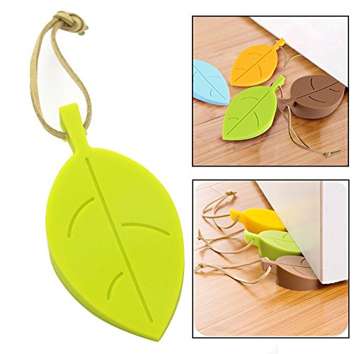 Stop Garden Door (Topoint Silicone Door Stopper Wedge Finger Protector, 4 Pack Premium Cute Colorful Cartoon Leaf Style Flexible Silicone Window/ Door Stops set with Lanyard for Home Garden Office)