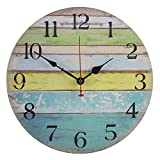old oak - Old Oak Beach Wall Clock Decorative Large 14-Inch Battery Operated Nautical Theme Decor for Bathroom Living Room Kitchen with Colorful Blue Green Yellow Stripe