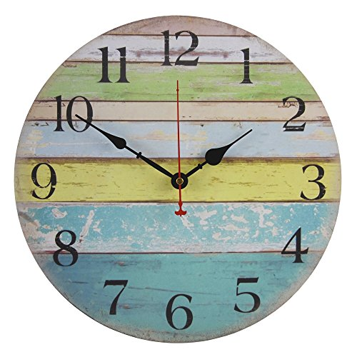 Old Oak Large Decorative Wall Clock Silent Non-Ticking Battery Operated for Beach Ocean Nautical Theme Living Room Kitchen Bathroom Decor with Blue Green Yellow Colorful Stripe Design 14-Inch