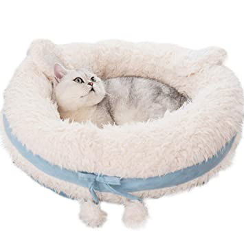 CLEAVE WAVES Cama para Perros para Mascotas Gatos Estera Redonda Azul Confort Plato Profundo Cuddler/