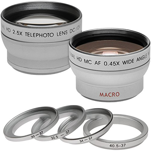 Precision Design .45x Wide Angle & 2.5x Telephoto Camera/Video Lens Set Fits Filter Sizes: 30mm, 30.5mm, 34mm, 37mm & 40.5mm