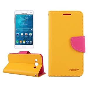 Cross Texture Contrast Color Style Leather Case with Holder & Card Slots & Wallet for Samsung Galaxy A7 / A700 (Orange)