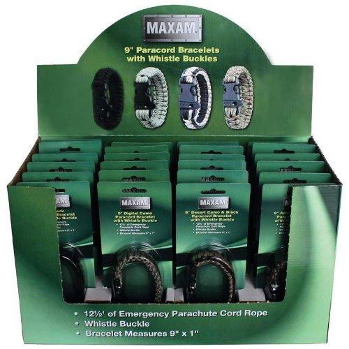 Maxam SPCORDSP Paracord Bracelets In Countertop Display (24 Piece)