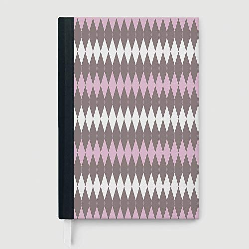 Hardcover Executive Notebook,Geometric,Case Bound Notebook,Diamond Pattern Various Sized Shapes Vertical and Retro Illustration Decorative,96 sheets/192 pages,A5/8.24x5.73 in