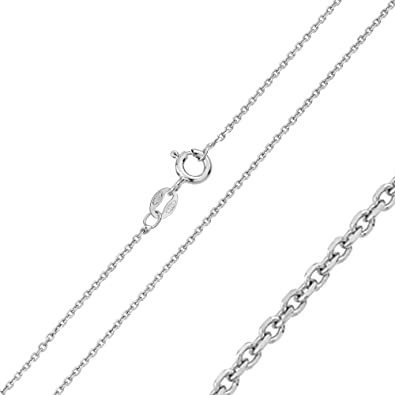 146a96b96 Double Accent 1mm Sterling Silver Italian Chain Necklace Shinny DC Anchor  Chain (16, 18