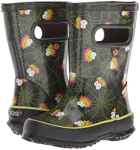 Bogs Kids' Skipper Waterproof Rubber Rain Boot for Boys and Girls,Smiley Spiders/Dark Green/Multi,11 M US Little Kid by Bogs (Image #6)