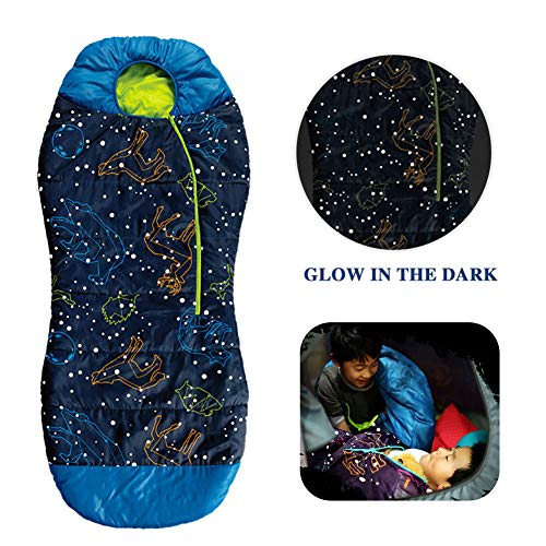 AceCamp Kids Sleeping Bags for Boys Girls Glow-in-The-Dark Sleeping Bag Blue Purple Mummy Style Toddler Sleeping Bags Extreme Temp Rating 30F/ -1C Great for Slumber - Bag Extreme