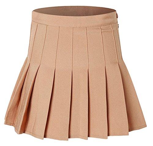 Tremour Women's High Waist Pleated Mini Skirt Camel XL -