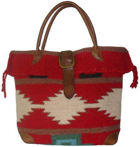 Price comparison product image AmeriLeather Red Wool-Blend Roamer Tote Bag